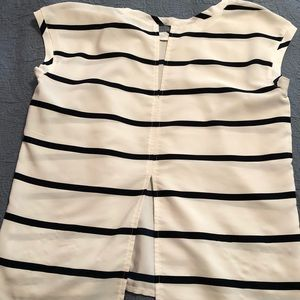 Abercrombie & Fitch white & navy striped shirt